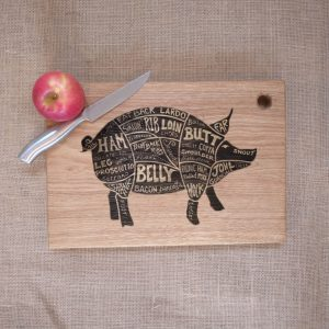 Laser Engraved Chopping Board with no Handles and Pig image