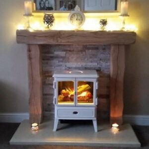 Heavily Worked Oak Fire Surround with Beautiful White Stove