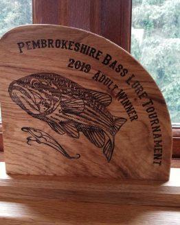 Personalised Oak Fishing Trophy Sign Award