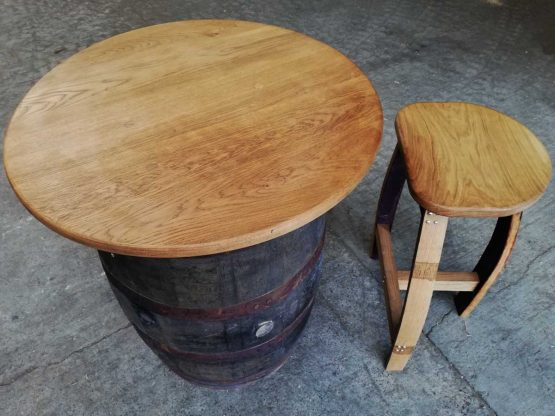 Oak Whiskey Barrel Table with Solid Oak Table Top