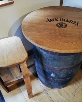 Oak Whiskey Barrel Table Engraved with Jack Daniels logo
