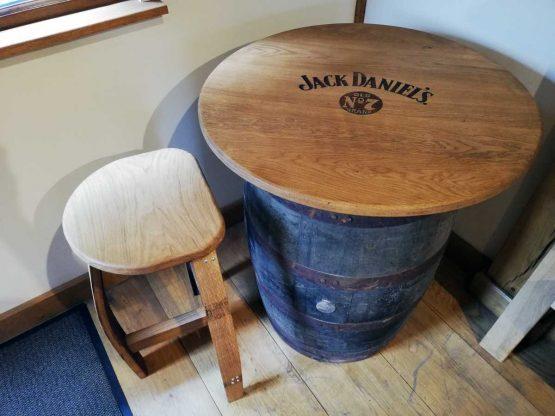 Oak Whiskey Barrel Table Engraved with Jack Daniels logo