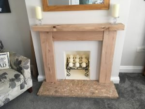 Solid Oak Beam Fire Surround Contemporary Finish