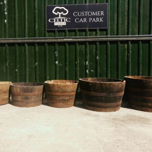 Half Whiskey barrel Planters of different Sizes