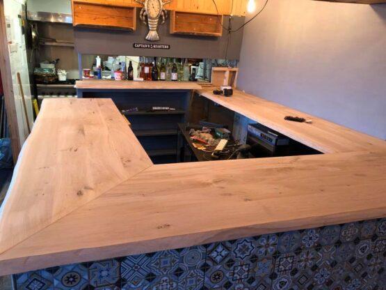 Solid Oak Bar Top - Kiln Dried Oak Bar - Unoiled