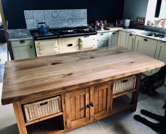 Wide Kiln Dried Oak Oak Kitchen Island with Live Edge
