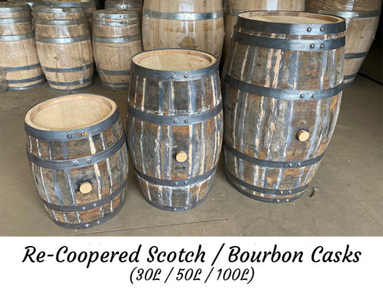 Recoopered Whiskey Barrels for Re-use, Ageing, Distilling