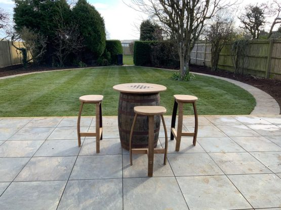 Whsieky Barrel with Oak table top and oak stools