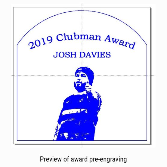 Solid Oak Sports Awards and Trophies Personalised Engraved with Rugby Clubman Award and Actual Image