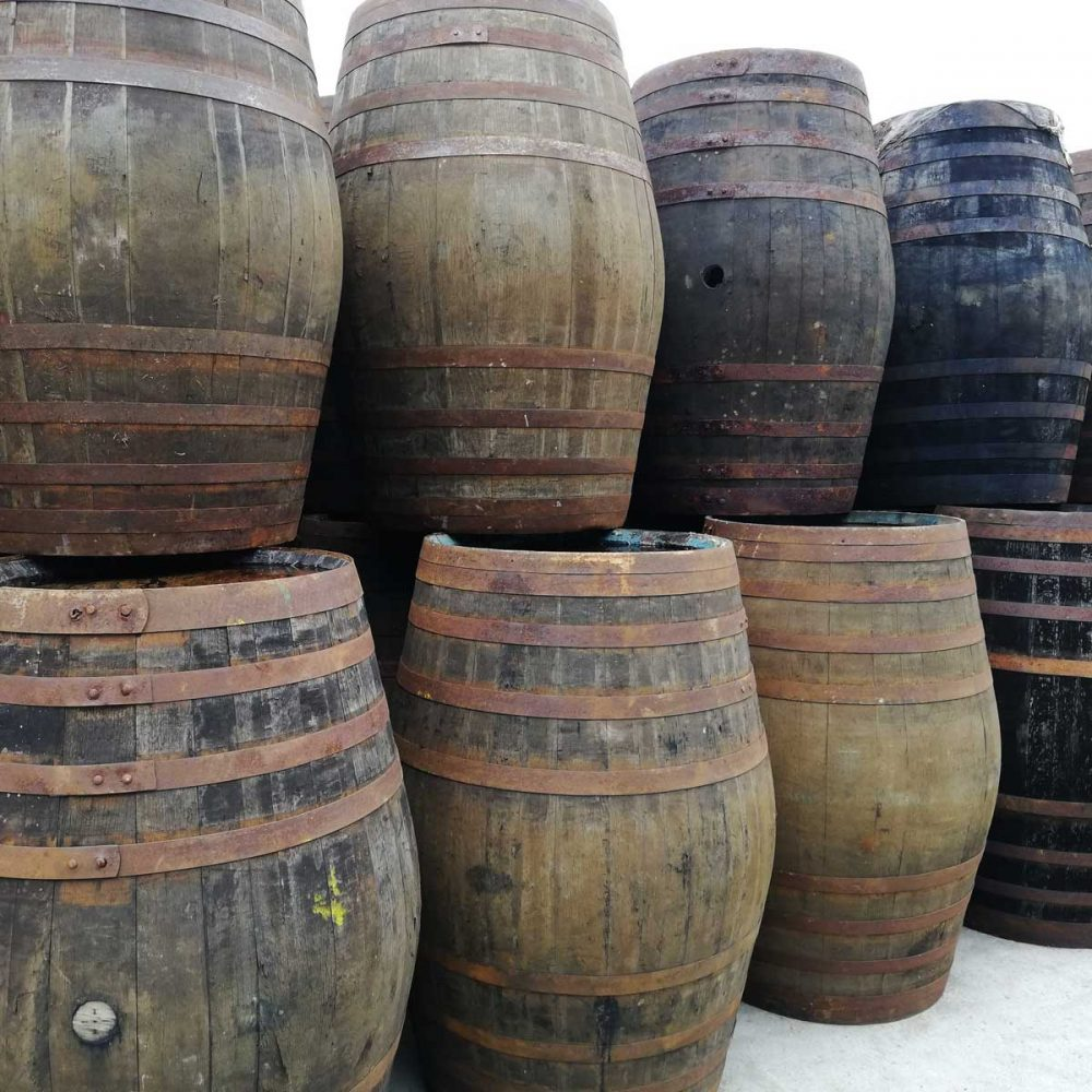 Oak Whiskey Barrels Reclaimed In Different Sizes And Styles