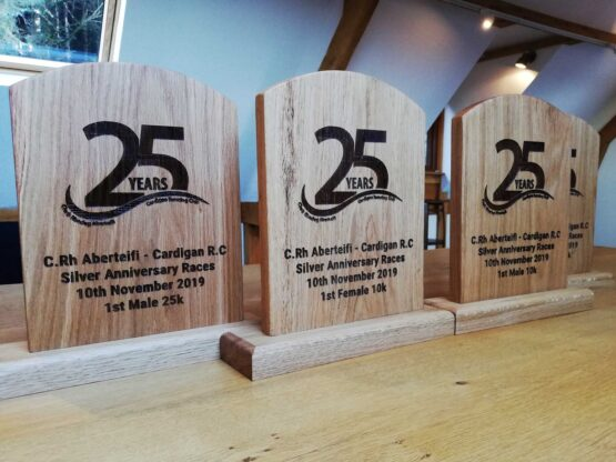 Personalised Oak Trophies / Awards with Pictures and Text Laser Engraved on Them