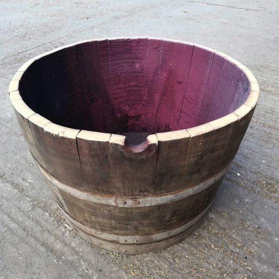 Grade C 27.5 Gallon Half Wine Barrel Planter