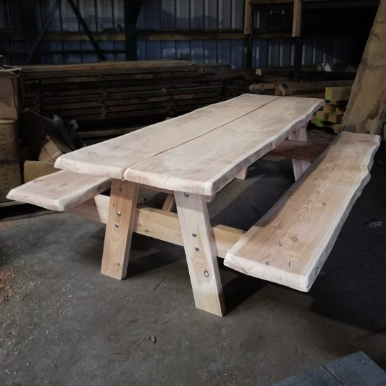 Larch Outdoor Picnic Table and Benches Custom Sizes