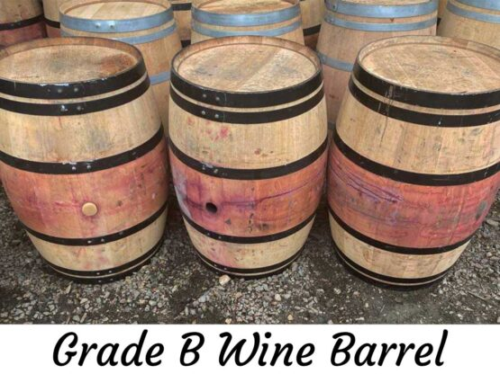 Grade B Oak Wine Barrels with Black Steel Bands