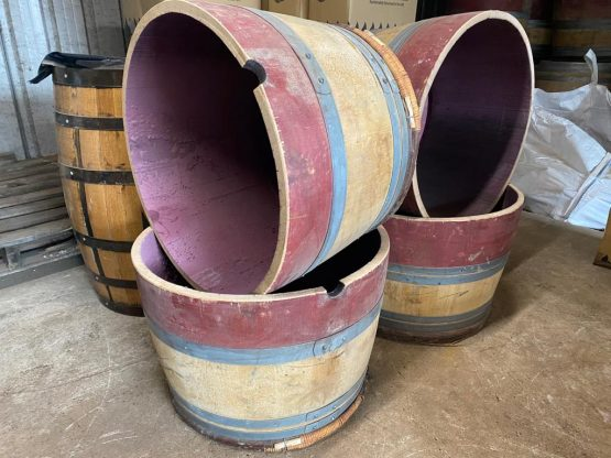 Chestnut End Wine Barrel Planters Oak Staves and Steel Bands