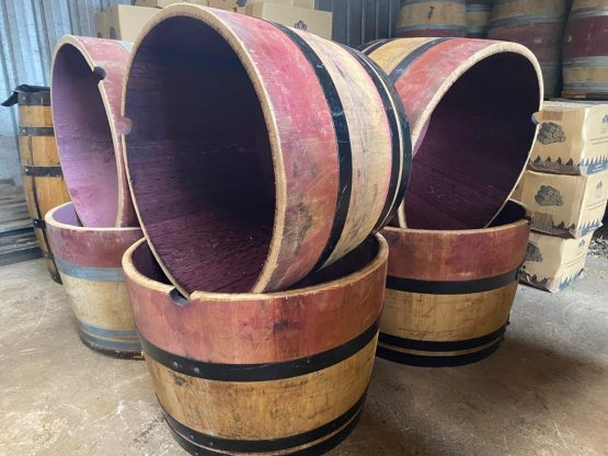 Grade B Oak Wine Barrel Planters with Black Steel Bands